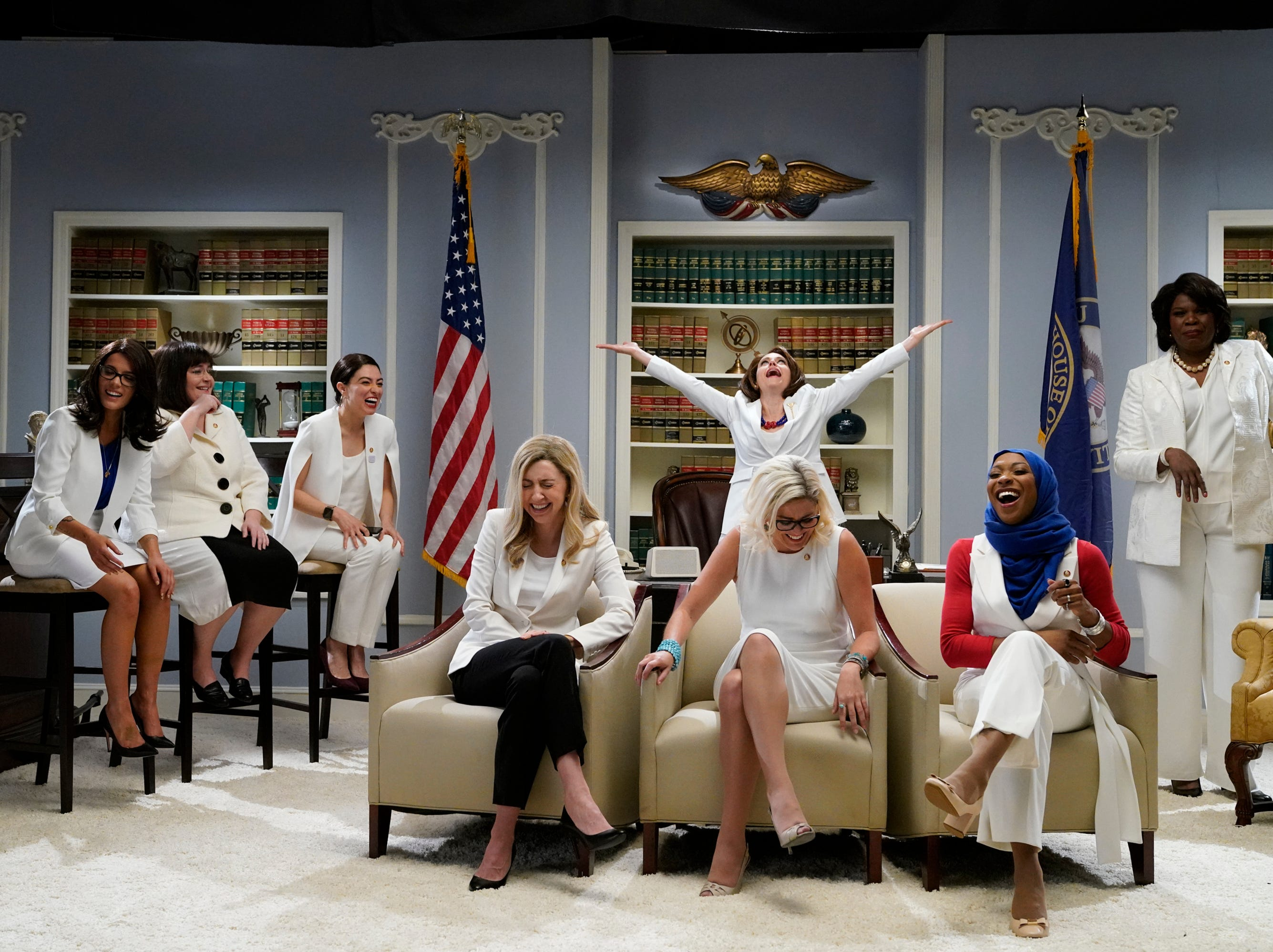 Girl power in politics was front and center with host Halsey as Rashida Tlaib, Aidy Bryant as Annie Kuster, Melissa Villasenor as Alexandria Ocasio-Cortez, Heidi Gardner as Abigail Spanberger, Kate McKinnon as Nancy Pelosi, Cecily Strong as Kyrsten Sinema, Ego Nwodim as Ilhan Omar and Leslie Jones as Maxine Waters representing women of Congress.