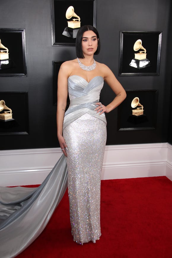 Dua Lipa shined in a silver Versace gown at the 2019 Grammy Awards.
