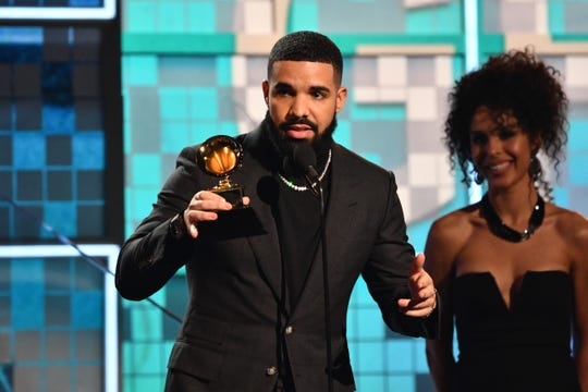 "Drake accepts the award for best rap song for ""God's Plan"" during the 61st Annual Grammy Awards."