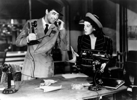 """Cary Grant and  Rosalind Russell in """"His Girl Friday."""""""