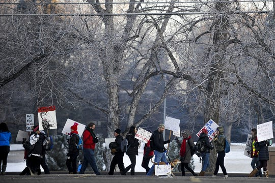 Denver Public Schools teachers and members of the community picket outside South High School on Feb. 11.
