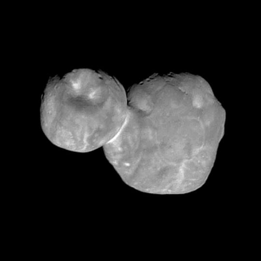 This Tuesday, Jan. 1, 2019 image made available by NASA shows the Kuiper belt object Ultima Thule, about 1 billion miles beyond Pluto, encountered by the New Horizons spacecraft.