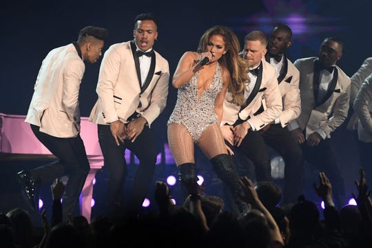 Jennifer Lopez performs during a Motown tribute segment at the Grammys.