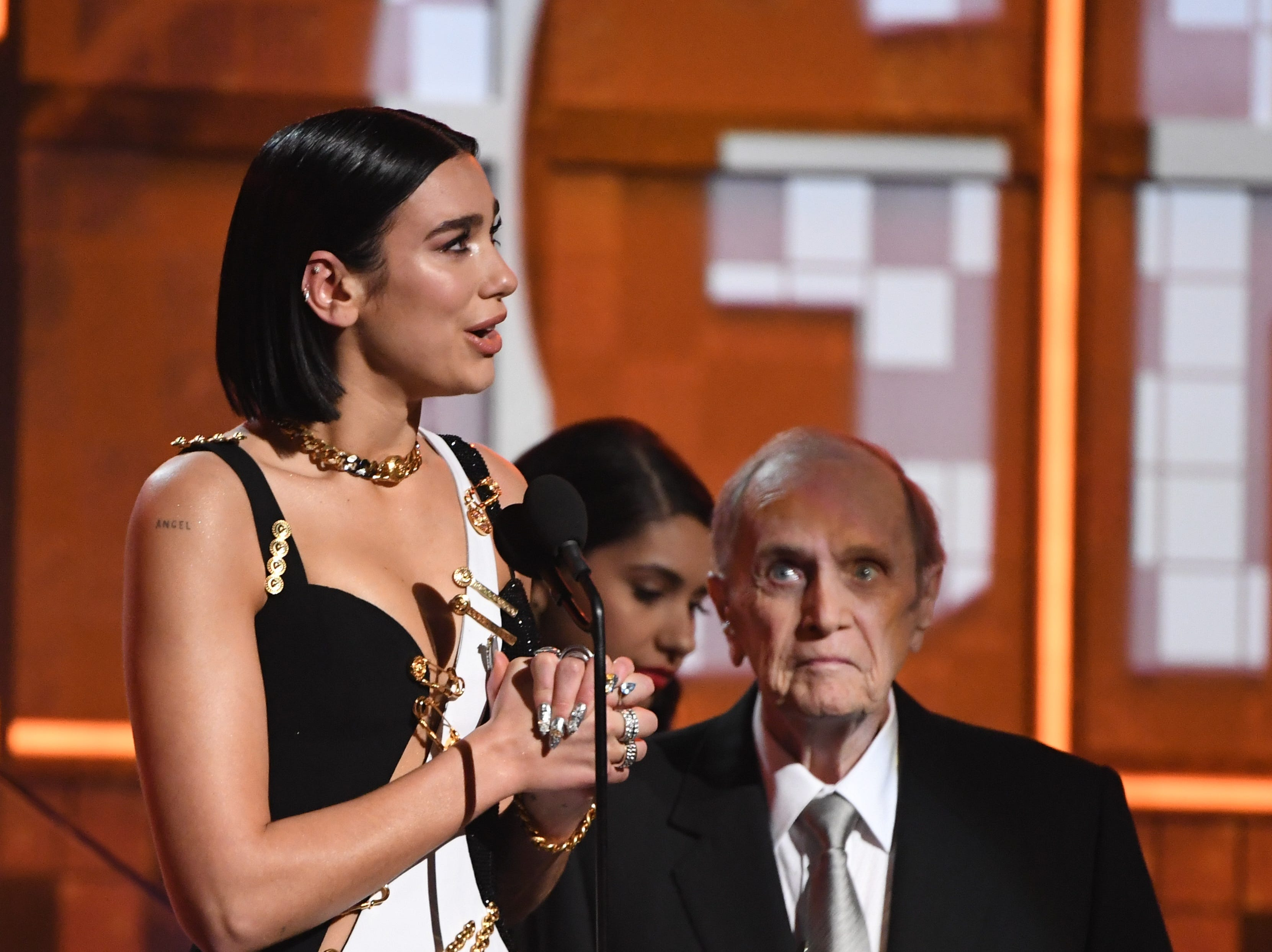 Dua Lipa accepts the award for best new artist.