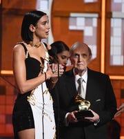 Dua Lipa accepts the award for best new artist.