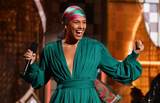 Alicia Keys hosts the Grammy Awards.