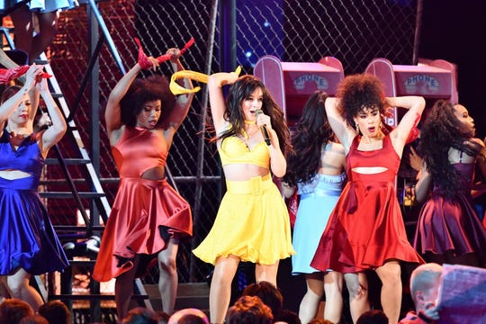 """Camila Cabello performs """"Havana"""" during the 61st Annual GRAMMY Awards on Feb. 10, 2019, in Los Angeles, Calif."""