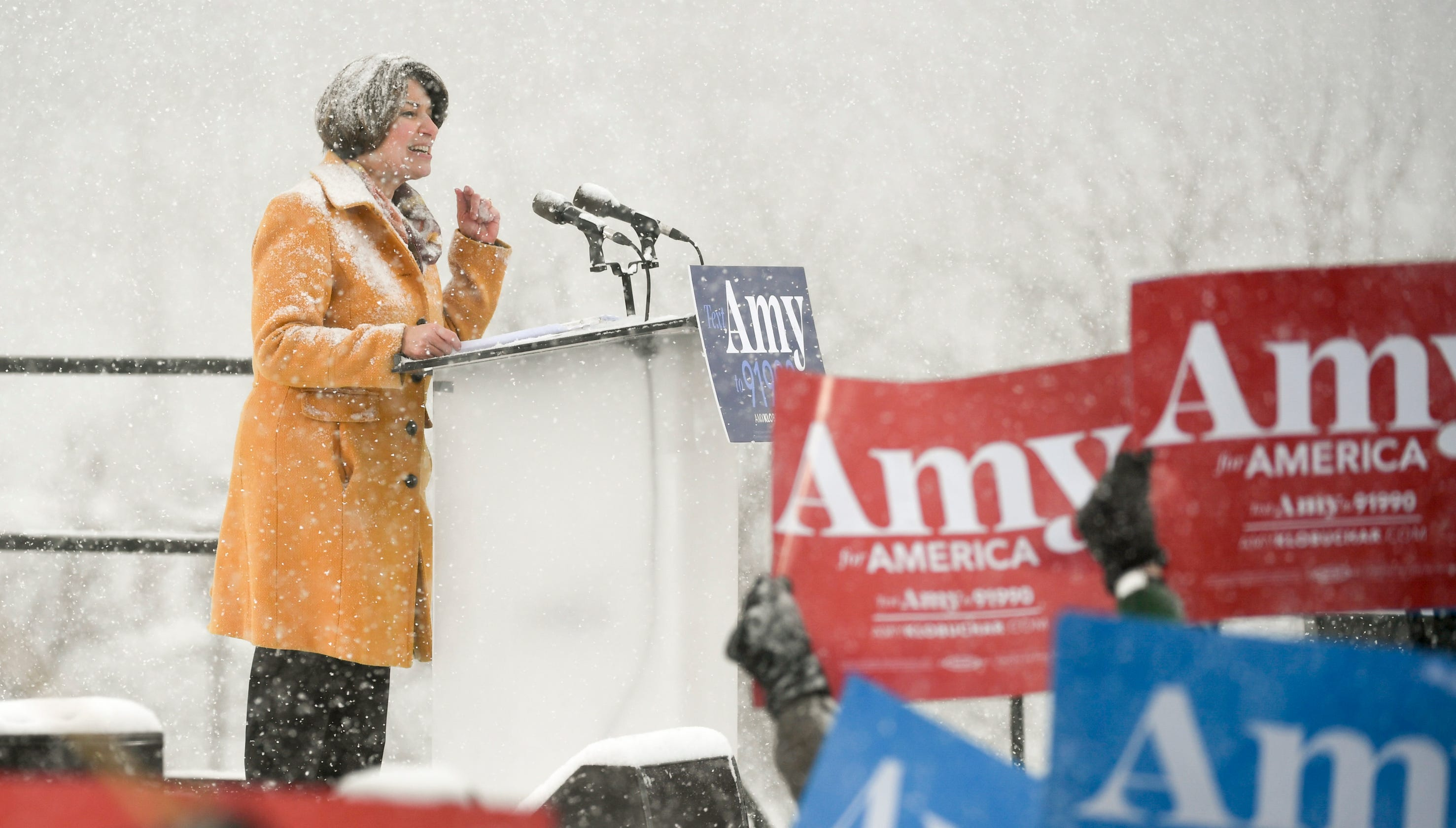 Trump mocks Klobuchar's wintry announcement. Her answer: 'I wonder how your hair would fare in a blizzard?'