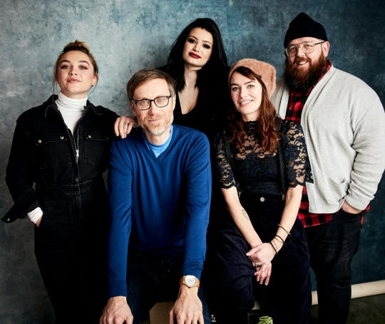 "Florence Pugh, from left, writer/director Stephen Merchant, Paige, Lena Headey, and Nick Frost pose for a portrait to promote the film ""Fighting with My Family"" at the Salesforce Music Lodge during the Sundance Film Festival on Sunday, Jan. 27, 2019, in Park City, Utah. (Photo by Taylor Jewell/Invision/AP) ORG XMIT: UTTJ411"