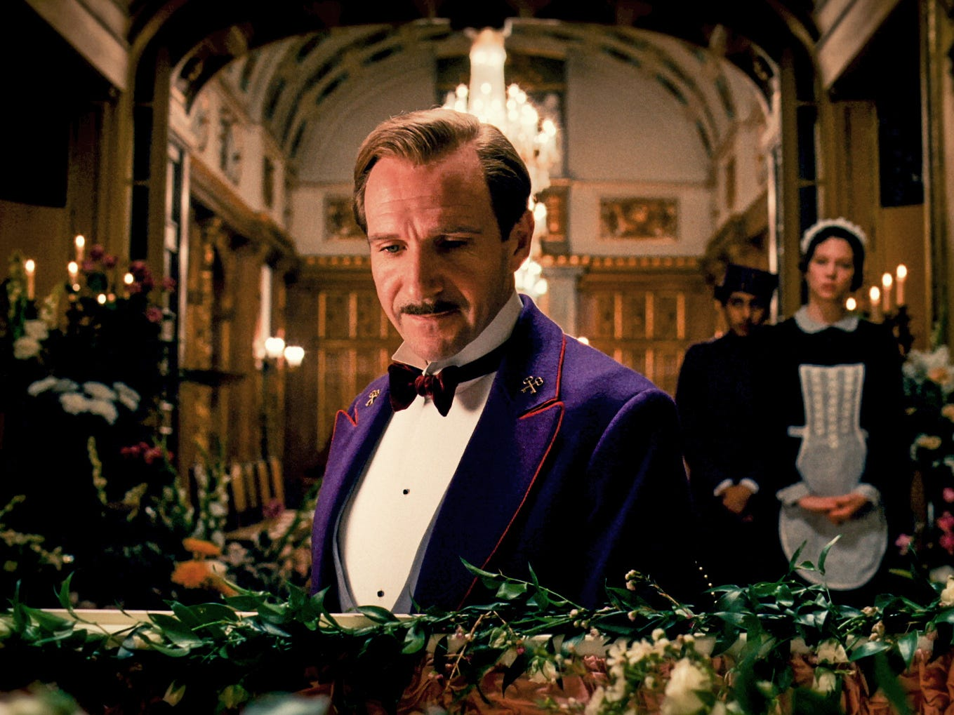 """Since """"Harry Potter,"""" Fiennes has become part of another major movie franchise as M in the James Bond universe. He also earned a Golden Globe nomination for his role in Wes Anderson's """"The Grand Budapest Hotel"""" (pictured)."""