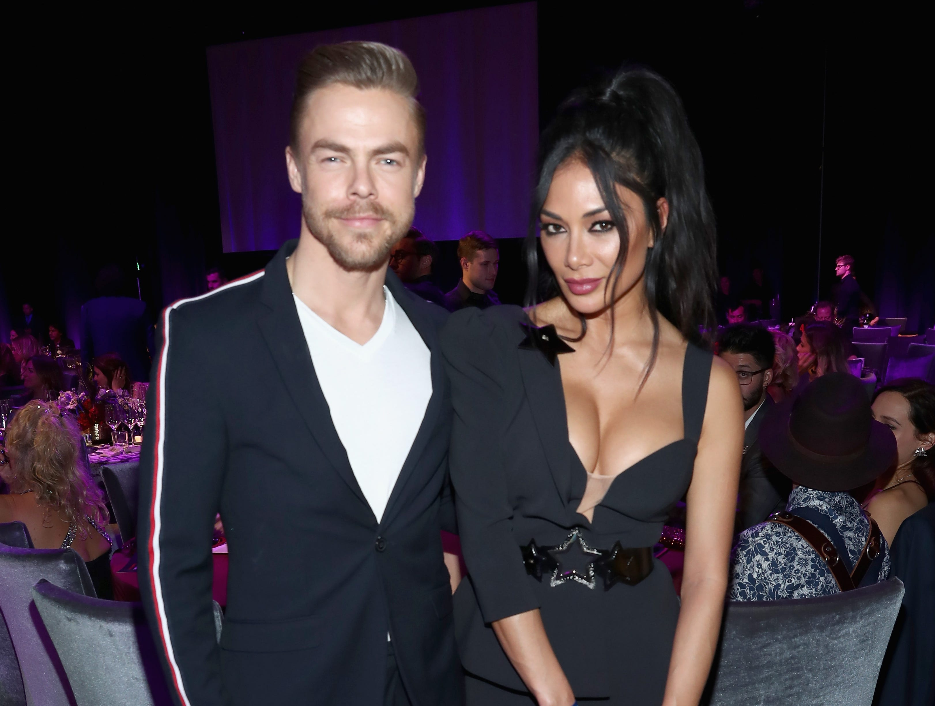 LOS ANGELES, CA - FEBRUARY 10:  Derek Hough and Nicole Scherzinger attend Steven Tyler?s Second Annual GRAMMY Awards Viewing Party to benefit Janie?s Fund presented by Live Nation at Raleigh Studios on February 10, 2019 in Los Angeles, California. at Raleigh Studios on February 10, 2019 in Los Angeles, California.  (Photo by Rich Polk/Getty Images for Janie's Fund) ORG XMIT: 775294826 ORIG FILE ID: 1097767126