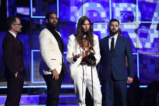 Ludwig Goransson accepts the award for record of the year for 'This Is America' by Childish Gambino.
