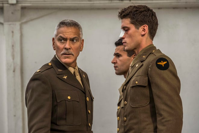 """George Clooney as Scheisskopf,  Christopher Abbott as Yossarian and Pico Alexander as Clevinger in Hulu's new adaptation of """"Catch-22."""""""