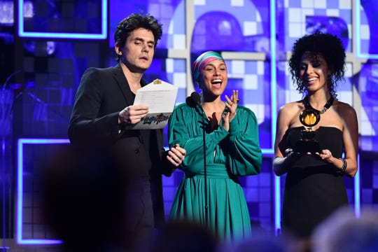 John Mayer and Alicia Keys present the award for Song of the Year during the 61st Annual GRAMMY Awards on Feb. 10, 2019 at STAPLES Center in Los Angeles, Calif.