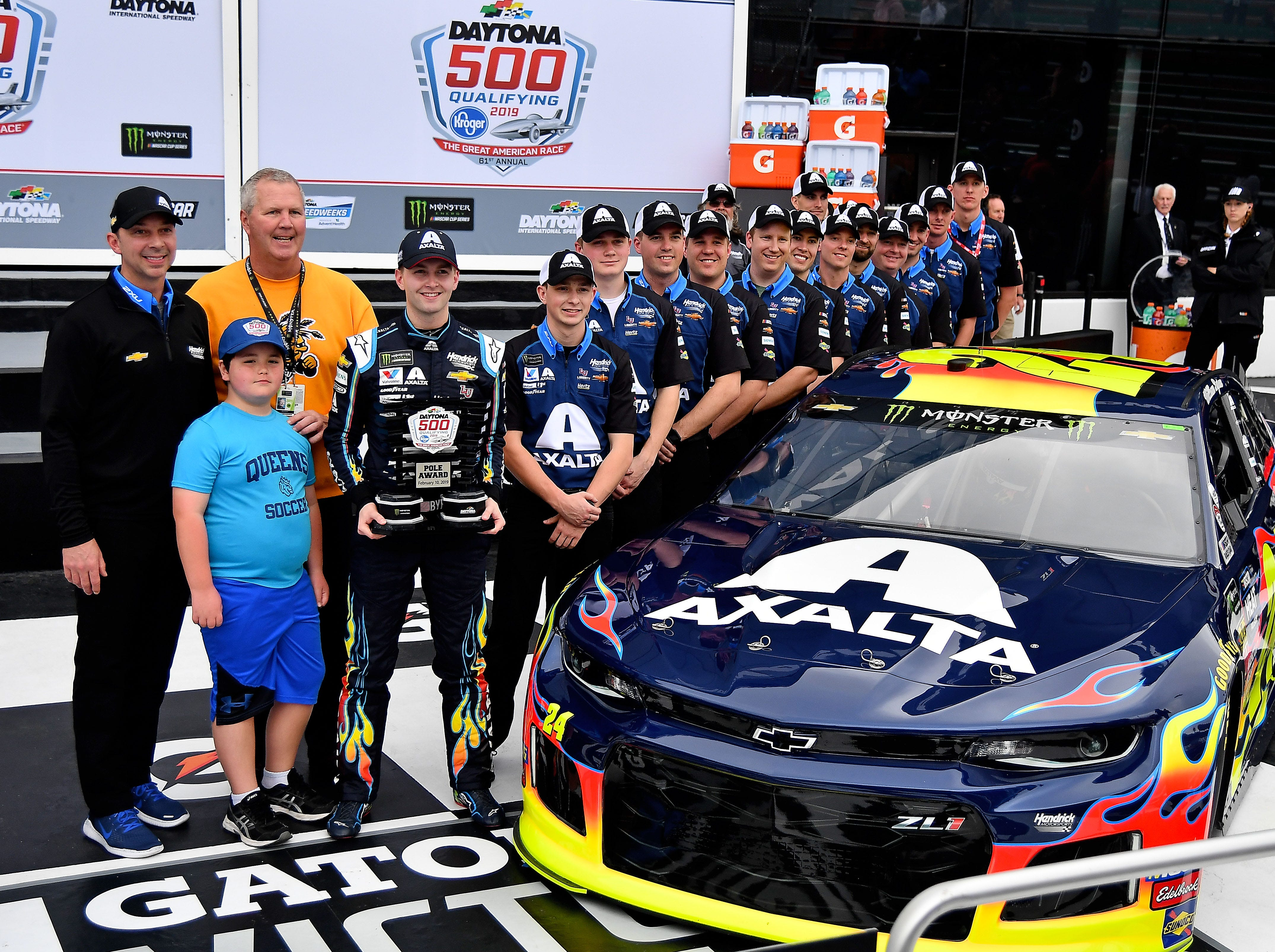 Feb 10: , William Byron and his team pose after winning the pole for the 2019 Daytona 500, his first career NASCAR Cup Series pole.