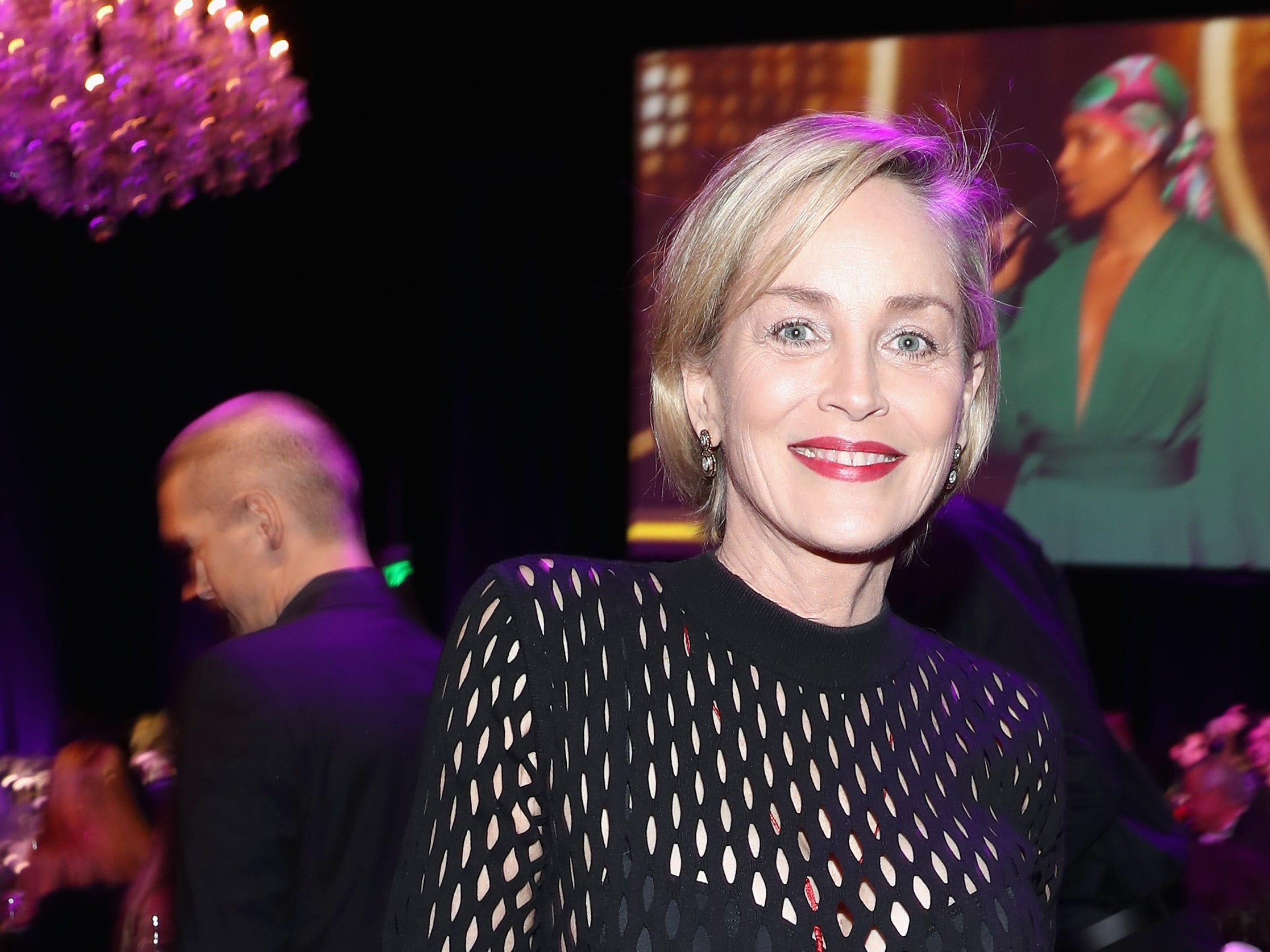 LOS ANGELES, CA - FEBRUARY 10:  Sharon Stone attends Steven Tyler?s Second Annual GRAMMY Awards Viewing Party to benefit Janie?s Fund presented by Live Nation at Raleigh Studios on February 10, 2019 in Los Angeles, California. at Raleigh Studios on February 10, 2019 in Los Angeles, California.  (Photo by Rich Polk/Getty Images for Janie's Fund) ORG XMIT: 775294826 ORIG FILE ID: 1097532340