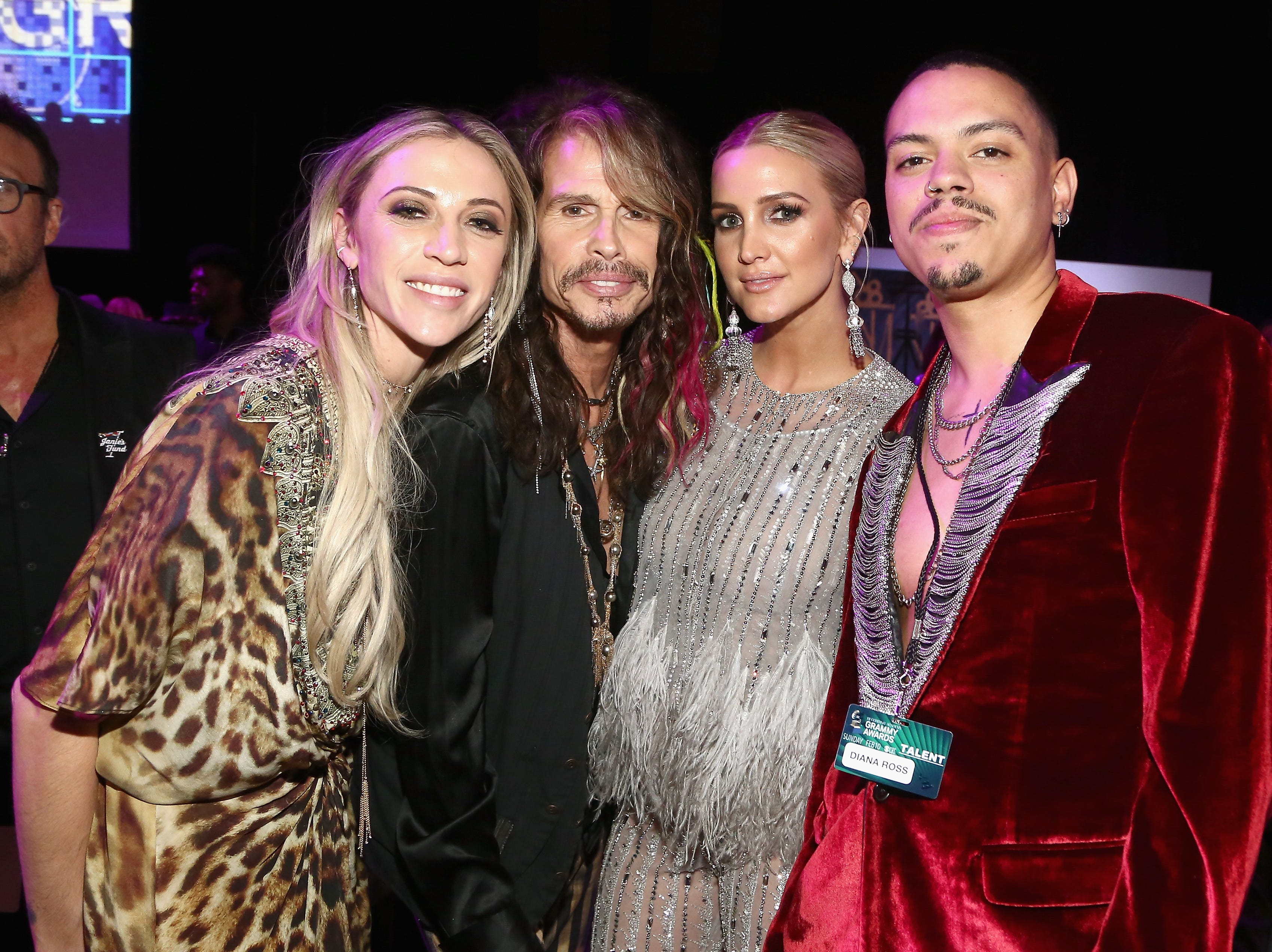 LOS ANGELES, CA - FEBRUARY 10:  Aimee Preston, Steven Tyler, Ashlee Simpson and Evan Ross attend Steven Tyler?s Second Annual GRAMMY Awards Viewing Party to benefit Janie?s Fund presented by Live Nation at Raleigh Studios on February 10, 2019 in Los Angeles, California.  (Photo by Tommaso Boddi/Getty Images for Janie's Fund) ORG XMIT: 775294826 ORIG FILE ID: 1097722084
