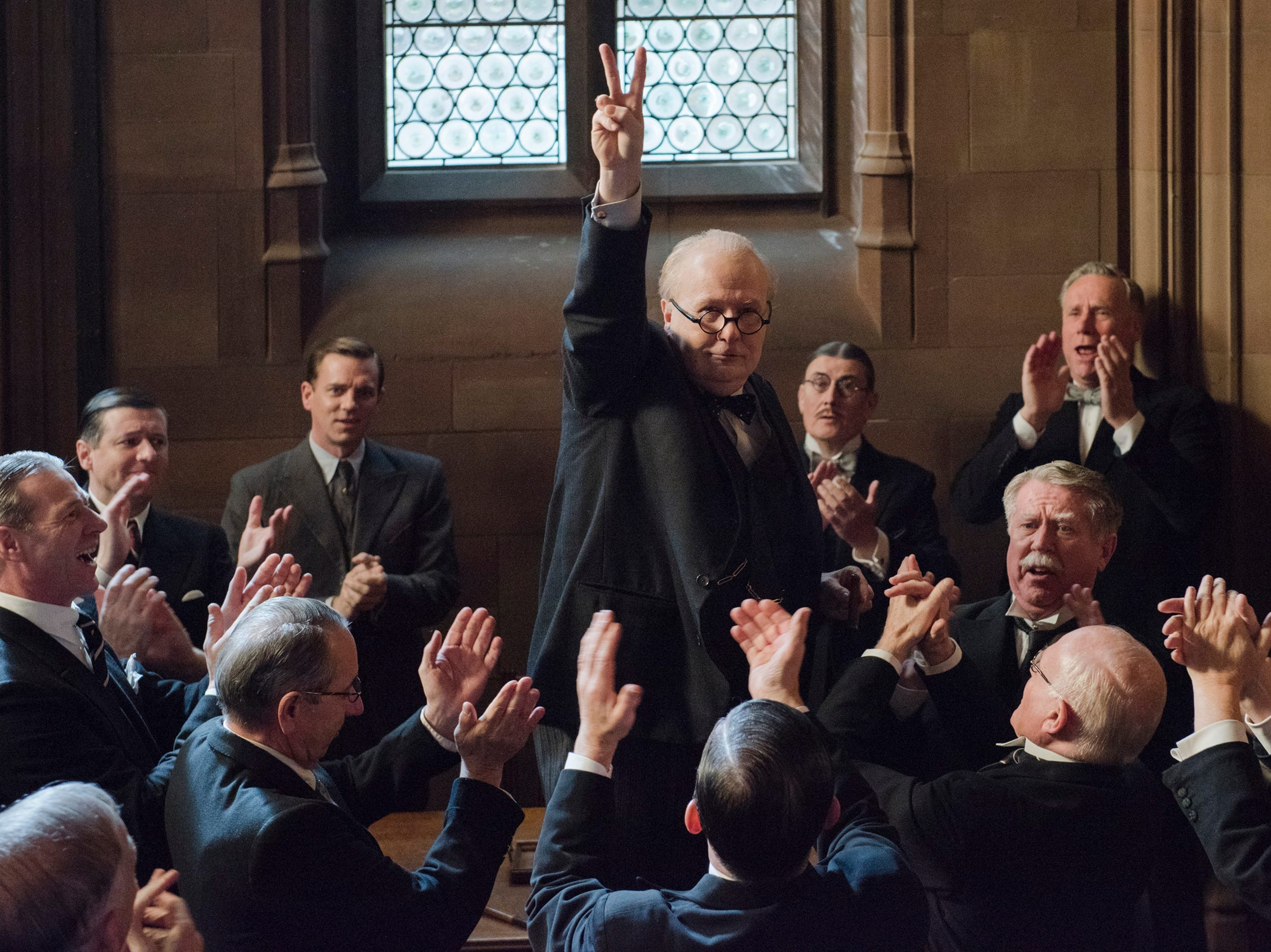 """Last year, Oldman won an Oscar for his portrayal of Winston Churchill in """"Darkest Hour"""" (pictured) and took on the iconic role of Commissioner Gordon in """"The Dark Knight Rises."""""""