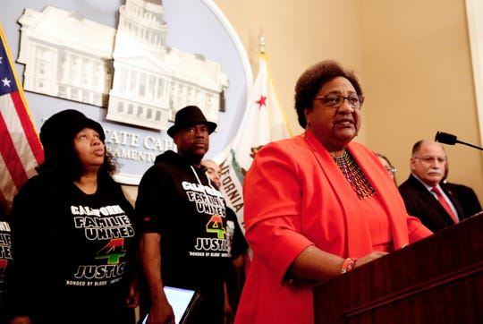 Assemblywoman Shirley Weber, D-San Diego, discusses her bill that would allow police to use deadly force only when there is no reasonable alternative, during a news conference, Wednesday, Feb. 6, 2019, in Sacramento, Calif.