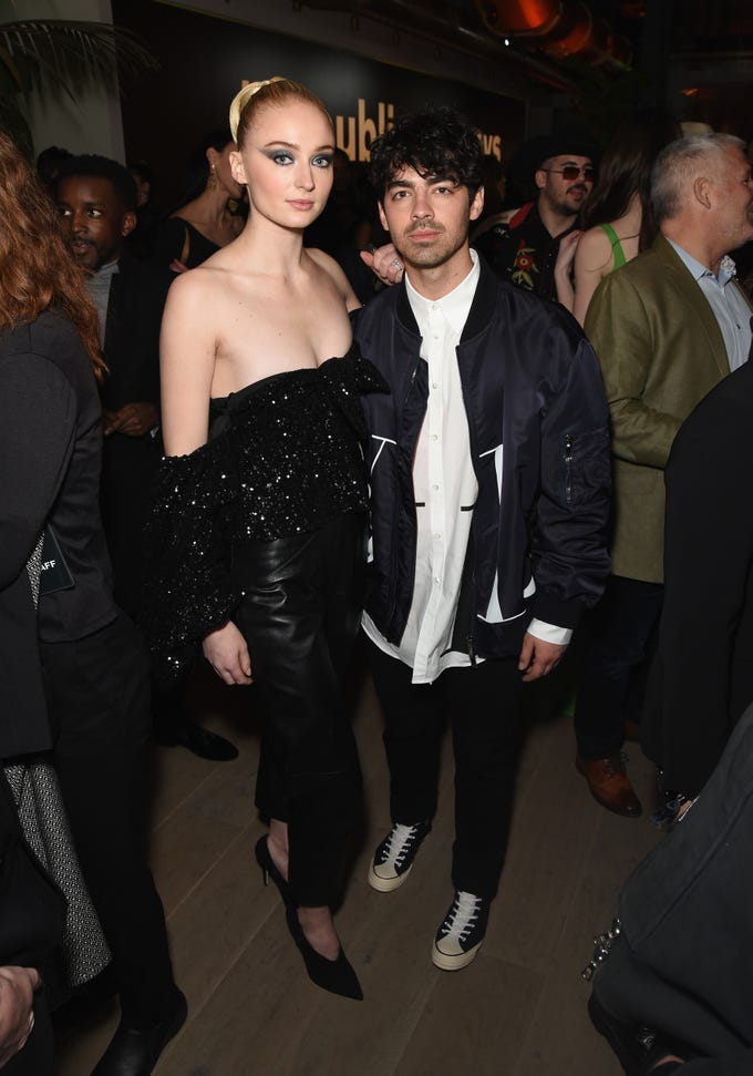 Sophie Turner and Joe Jonas during Republic Records Grammy after party in Beverly Hills, Calif., Feb 10, 2019.