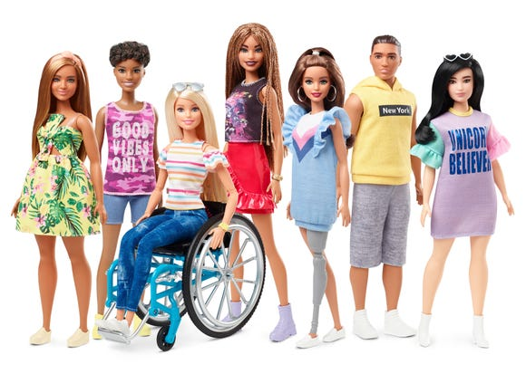 The Barbie Fashionistas line continues to expand its diversity. This summer it will debut a doll in a wheelchair, a doll with a prosthetic leg and a doll with textured, braided hair.