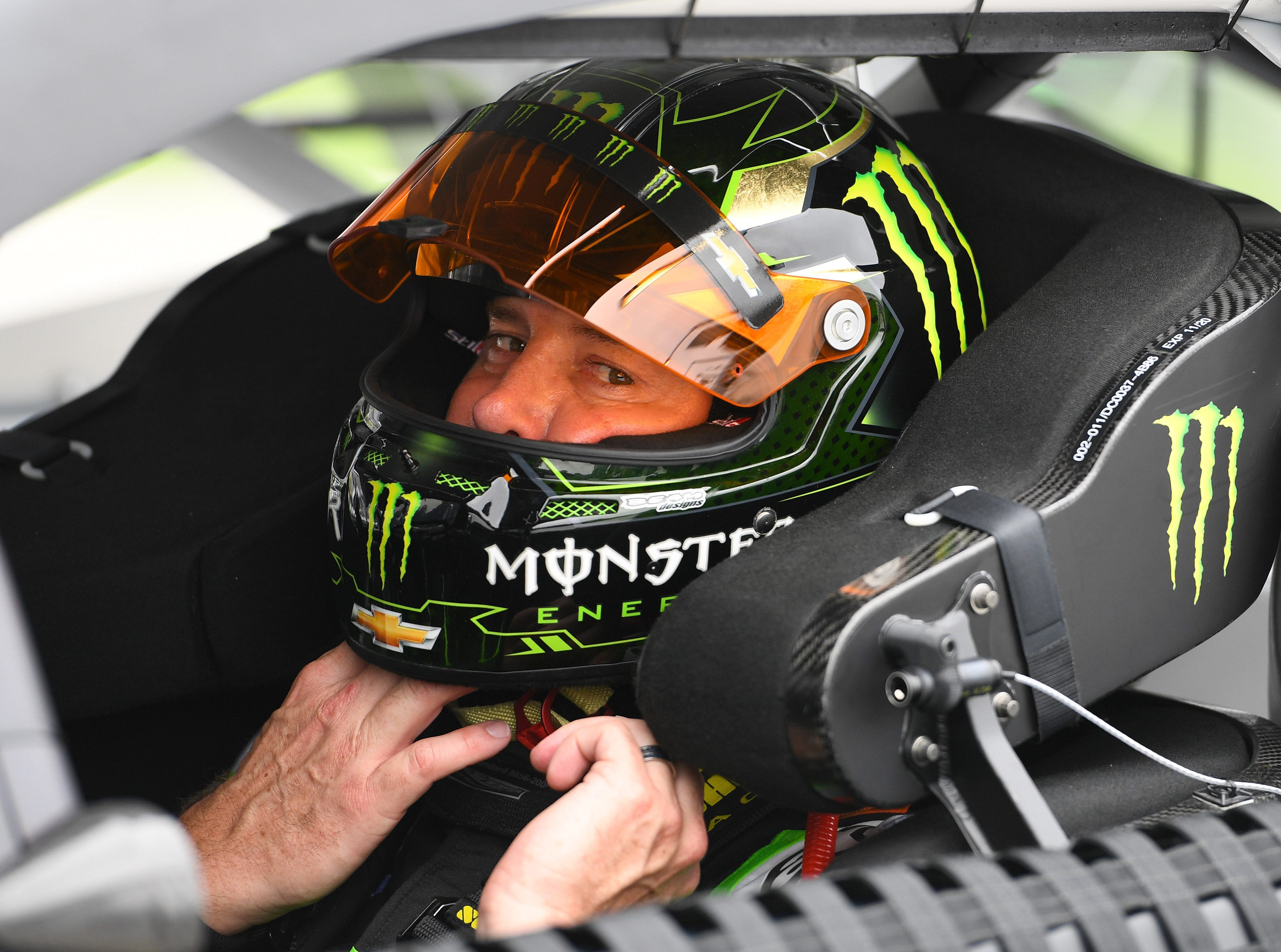 Feb 10: Kurt Busch, the 2017 Daytona 500 champion, prepares to take his first qualifying run for his new team -- the No. 1 Chip Ganassi Racing Chevrolet --  at Daytona International Speedway.