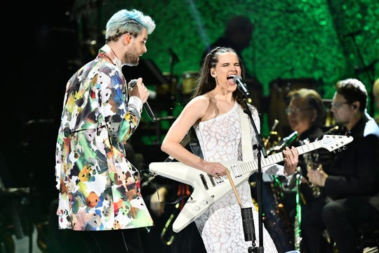 Tucker Halpern and Sophie Hawley-Weld of Sofi Tukker perform at the Grammy Awards Premiere Ceremony.