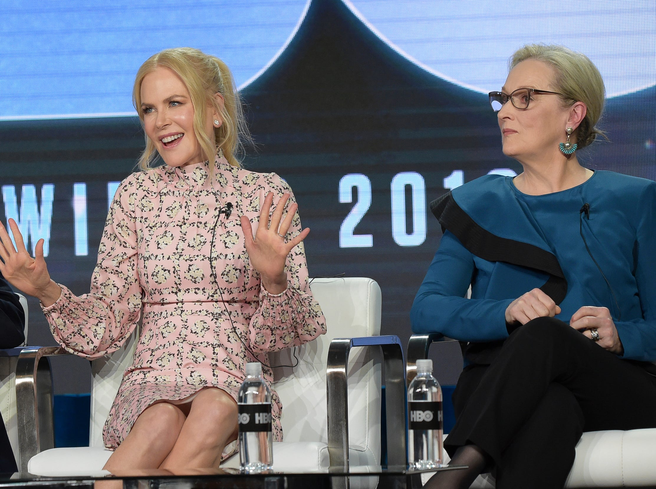 """Nicole Kidman and Meryl Streep participate in the """"Big Little Lies"""" panel during HBO's presentation."""