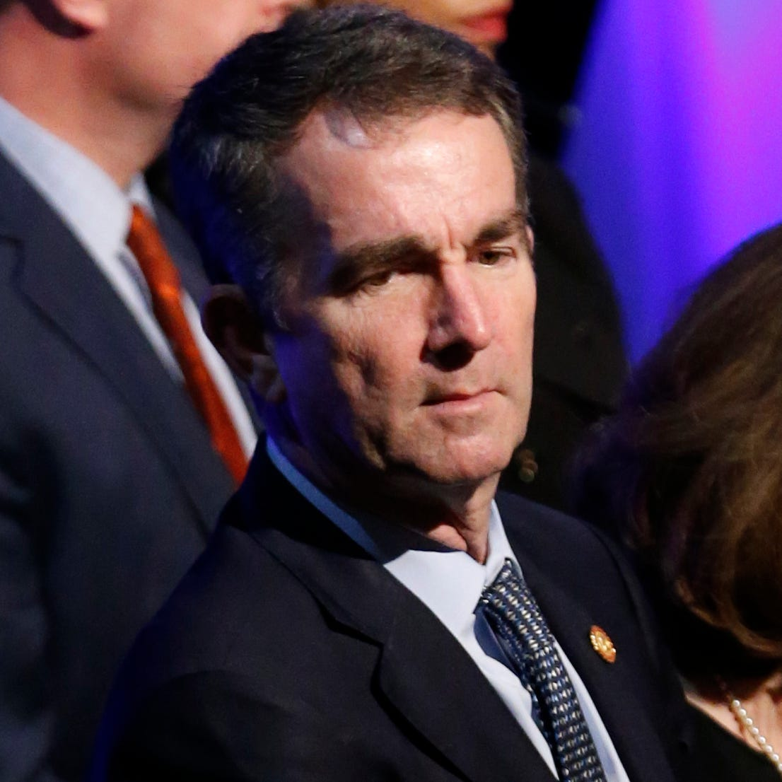 Virginia Gov. Ralph Northam, left, and his wife Pam, attend the funeral of Virginia State Trooper Lucas B. Dowell at the Chilhowie Christian Church in Chilhowie, Va., Feb. 9, 2019.