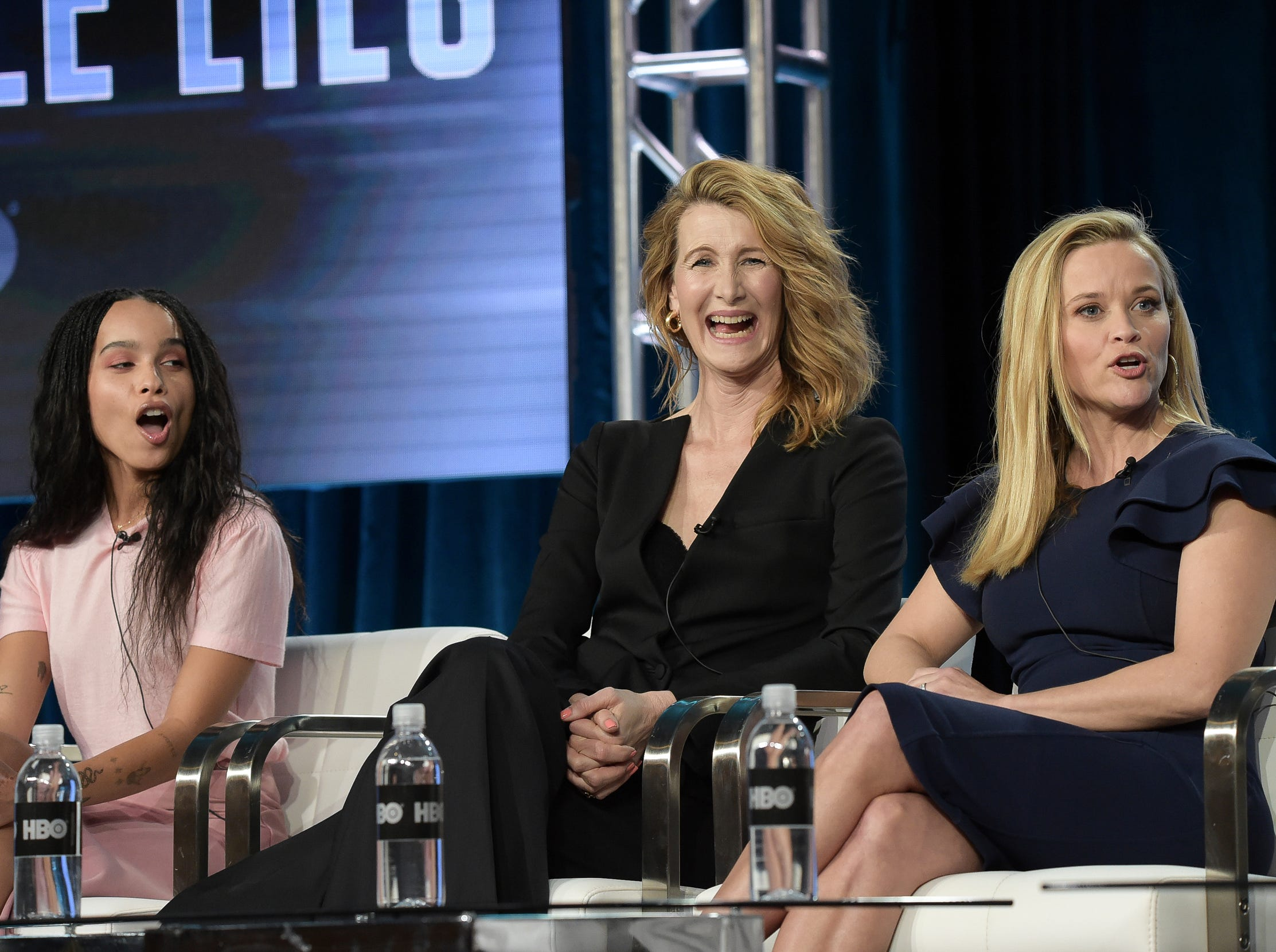 """Zoe Kravitz, Laura Dern and Reese Witherspoon participate in the """"Big Little Lies"""" panel."""