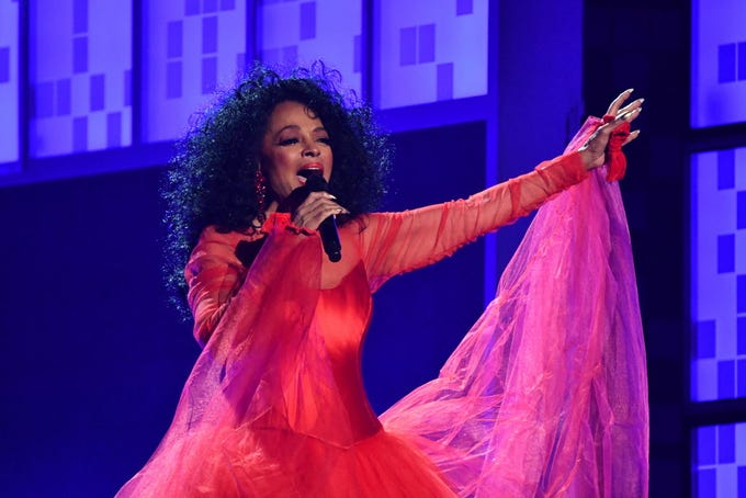 Diana Ross performs at the Grammys.