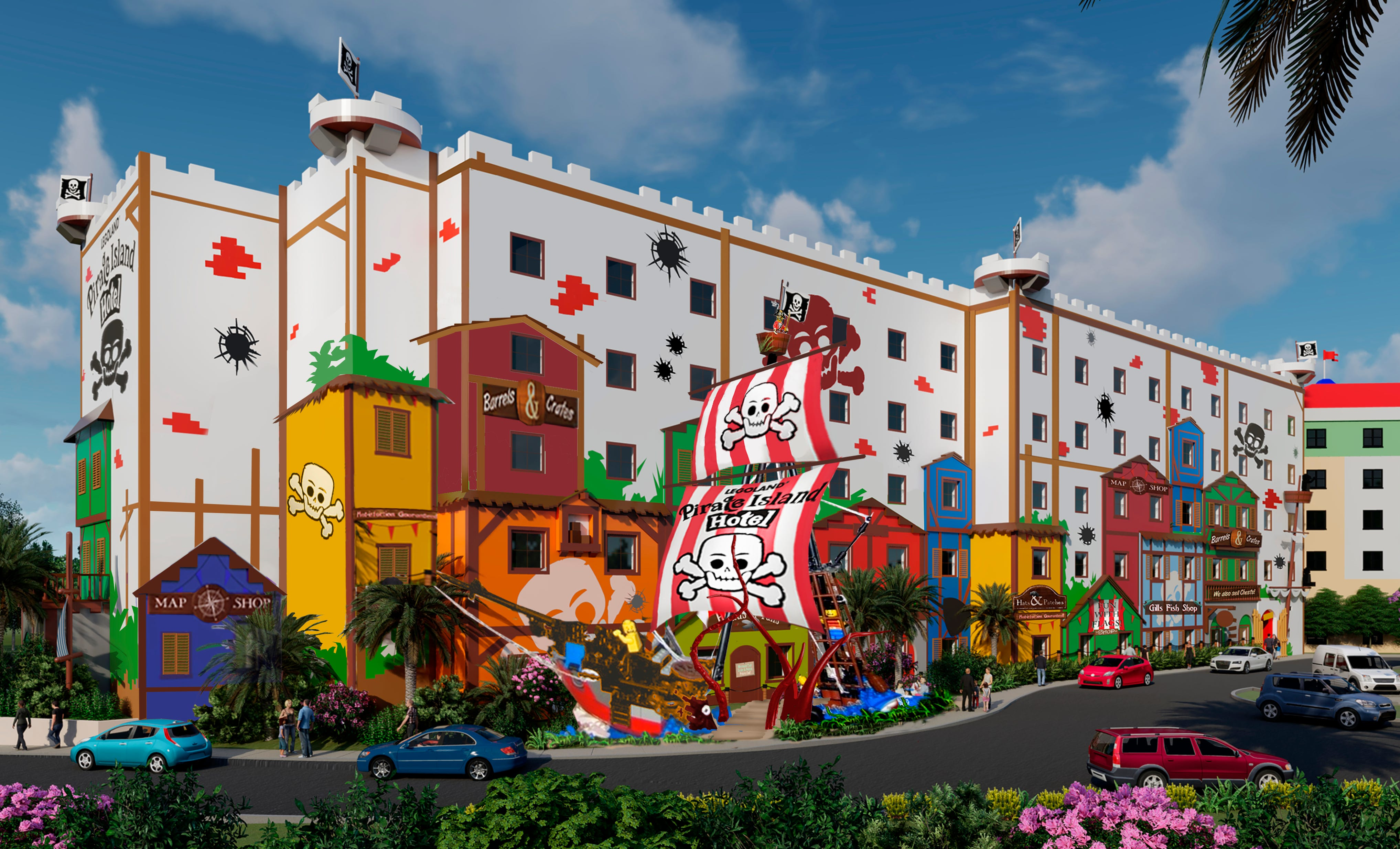 Construction is underway for the Legoland Pirate Island Hotel, seen here in a rendering, which will feature 150 pirate-themed rooms spread out over five floors, a private pool and minigolf.