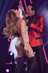 "Jennifer Lopez performs ""My Girl"" with Smokey Robinson during a Motown tribute segment at the Grammys on Feb. 10, 2019."