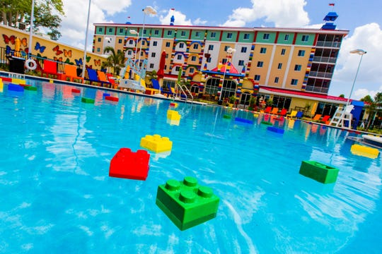 Sunbathers seeking a seamless Lego-building experience, fret not: Giant , buoyant bricks are plentiful in the pool at the Legoland Hotel.
