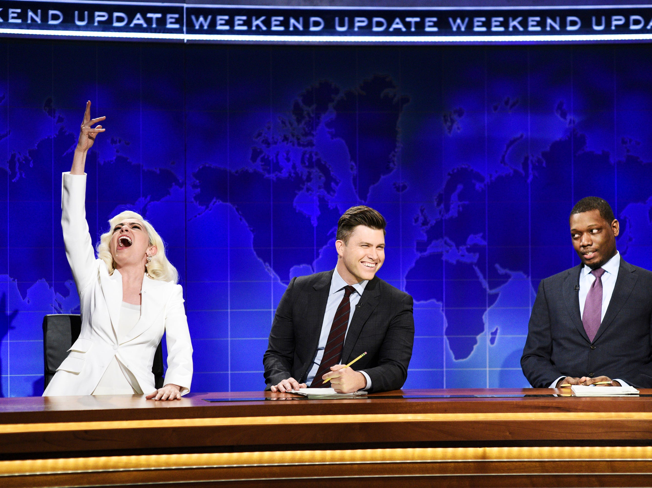 "Melissa Villasenor showed off her Lady Gaga impression along side Colin Jost and Michael Che during ""Weekend Update."""