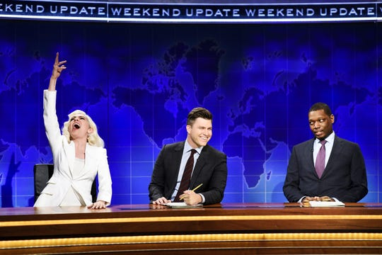 """Melissa Villasenor showed off her Lady Gaga impression along side Colin Jost and Michael Che during """"Weekend Update."""""""