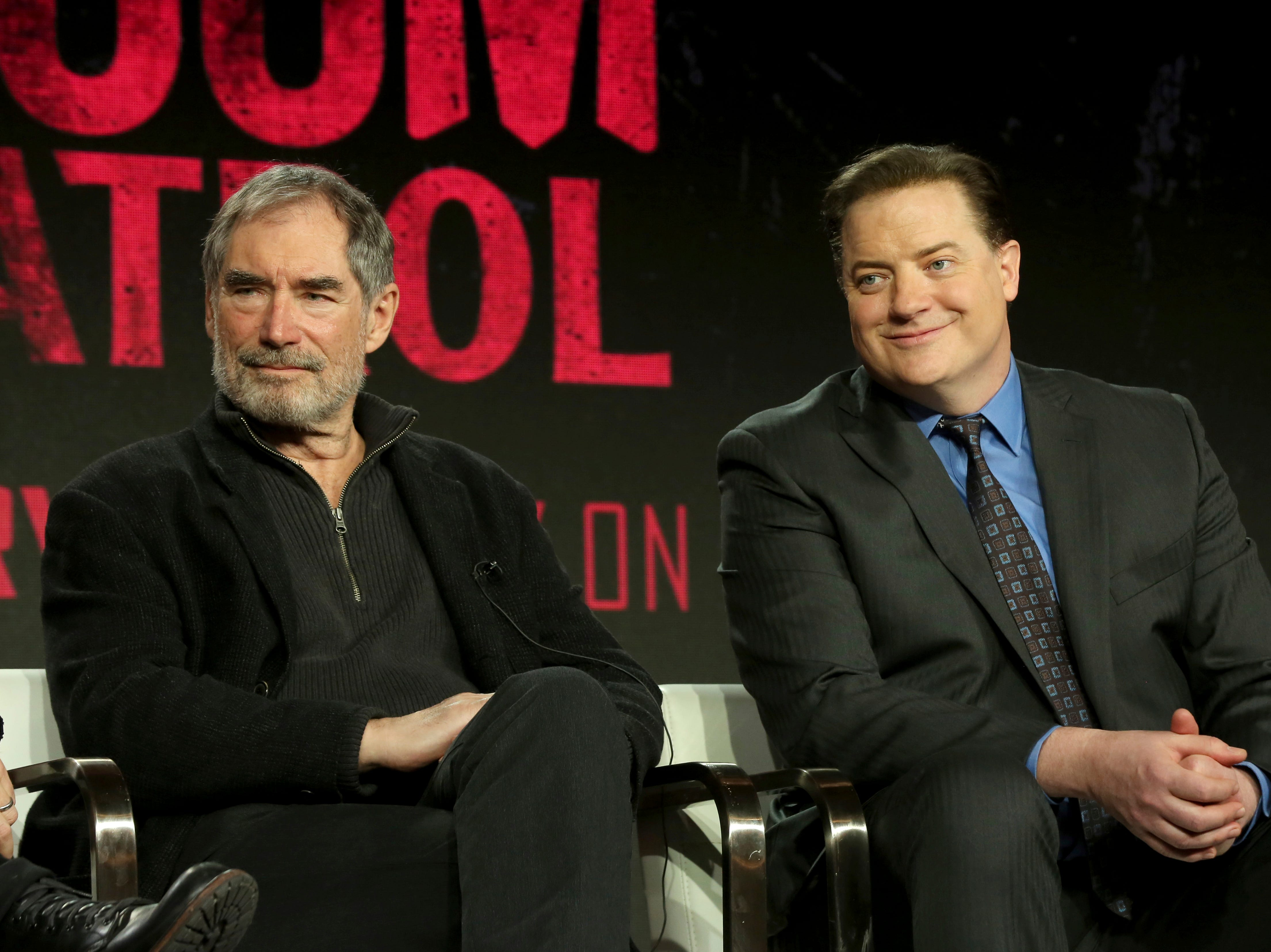 """Timothy Dalton and Brendan Fraser take a question about """"DC Universal - Doom Patrol"""" at TCA."""