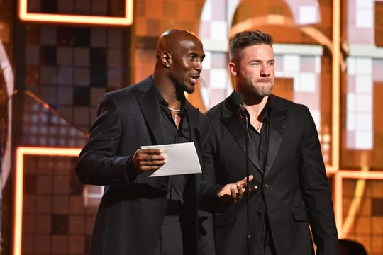 Devin McCourty and Julian Edelman present the award for Best Pop Duo/Group Performance.