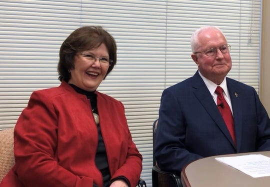 Rapides Parish Sheriff William Earl Hilton (right) announced Tuesday that he will not run for re-election. He made the decision at a press conference with his wife, Billie Hilton, at his side.
