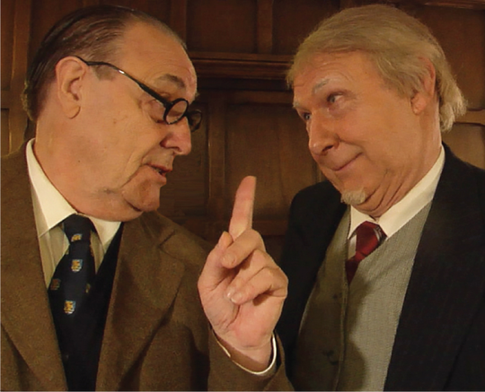 """David Payne portarys C.S. Lewis (left) and Gordon Tett portrays J.R.R Tolkien in the play """"Of Wardrobes and Rings."""""""