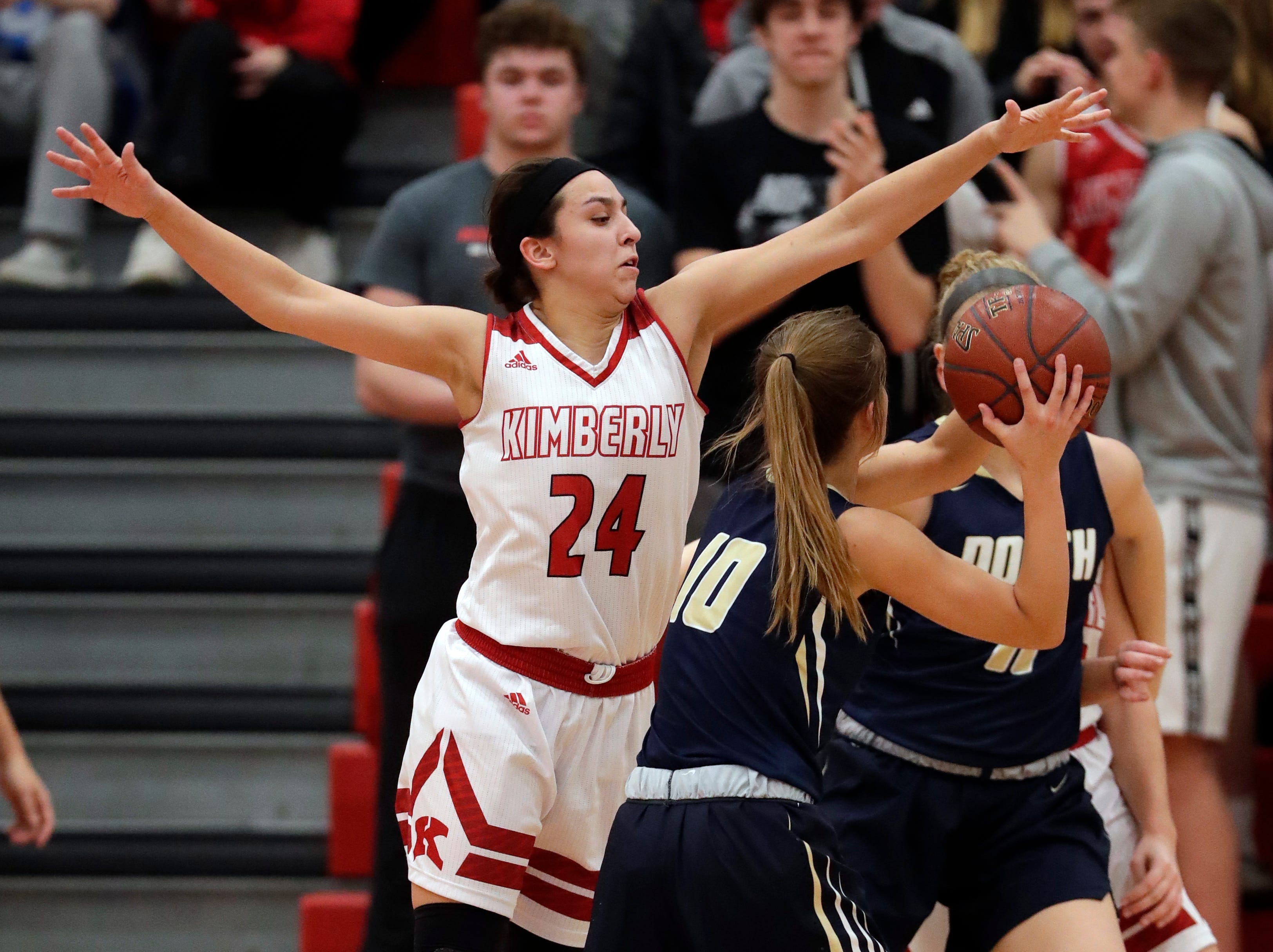 Kimberly High School's Shea Dechant (24) defends against Appleton North High School's Anna Laux (10) during their girls basketball game Monday, February 11, 2019, in Kimberly, Wis. Dan Powers/USA TODAY NETWORK-Wisconsin