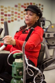 Dawn Burke of Keyport has been waiting for a lung transplant for the past 18 months. She works out at Monmouth Medical Center to exercise her lung capacity and build strength in her lungs.     Long Branch, NJTuesday, February 12, 2019