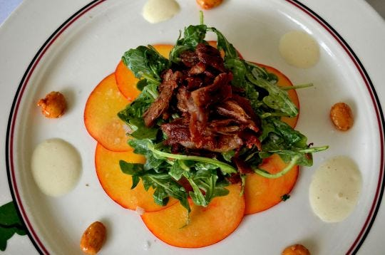 Peach carpaccio is a signature dish at The Frog and The Peach in New Brunswick.