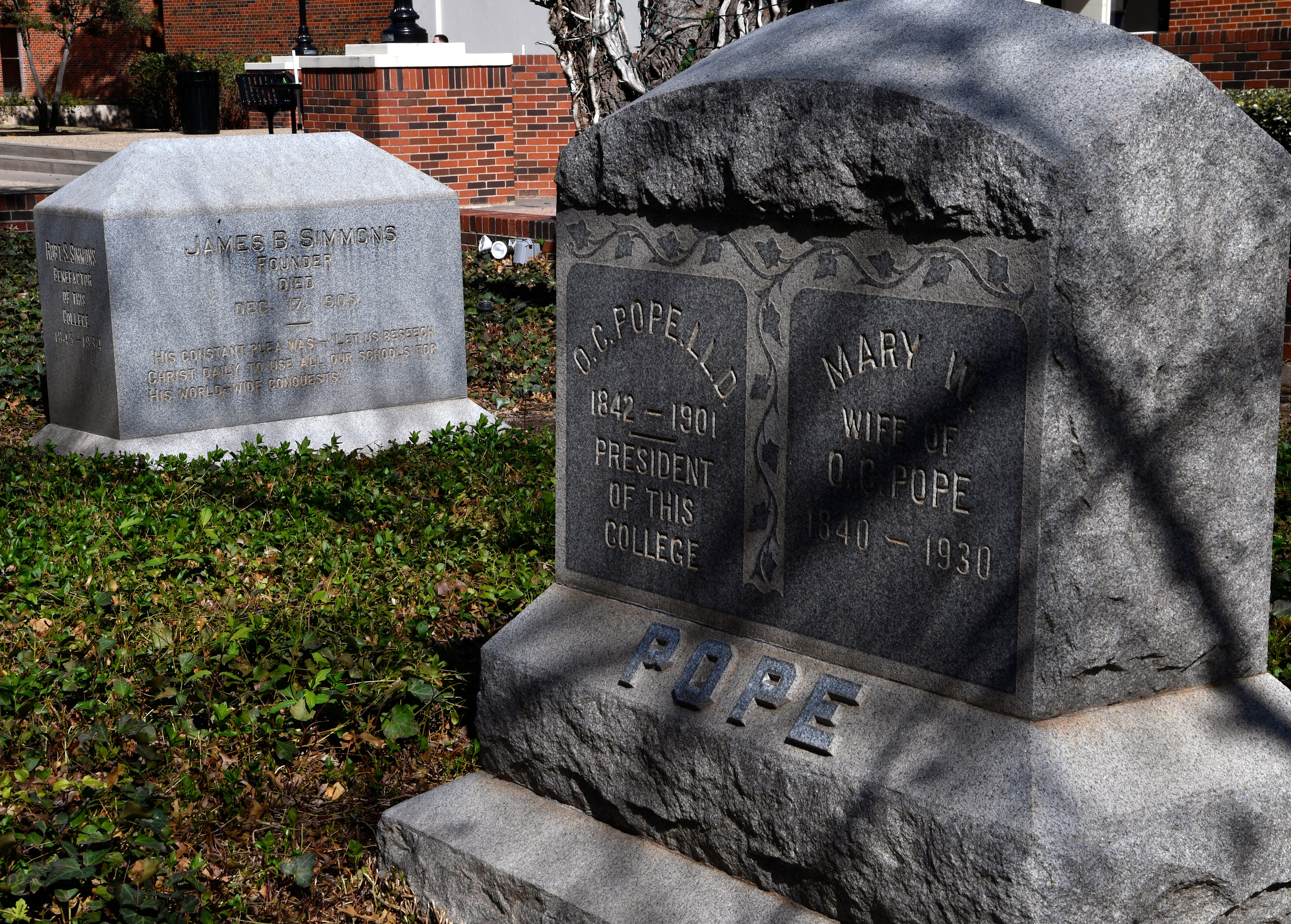 The grave markers of Hardin-Simmons University founders James B. Simmons and O.C. Pope at HSU.