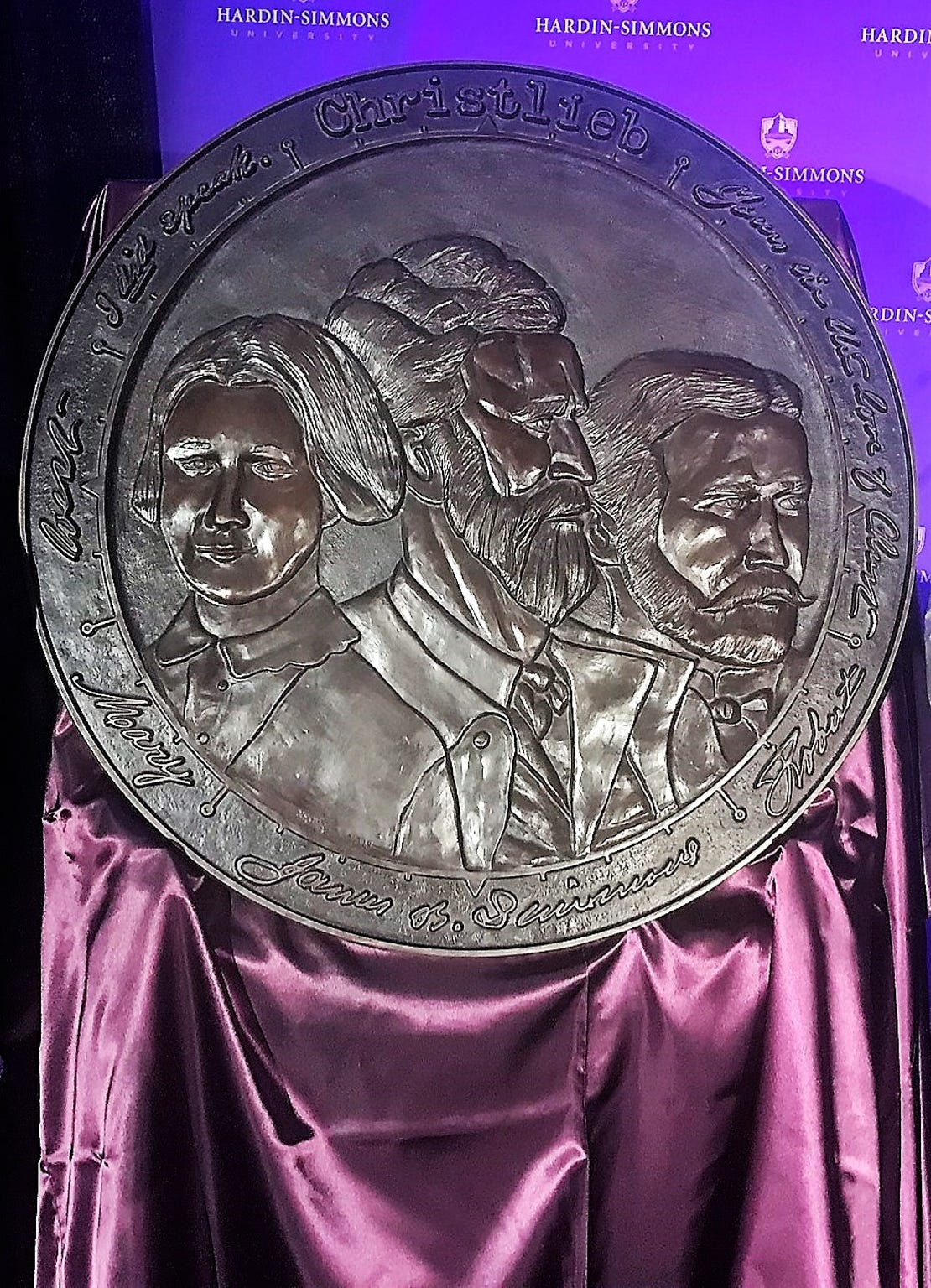 A larger version of a medallion that in part honors James B. Simmons. It first was awarded in 2018 to Dr. Virginia Connally.