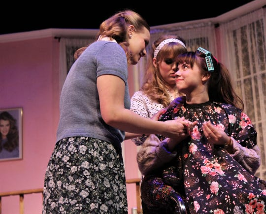 "M'Lynn (Victoria Steffins, left) checks the color of her daughter Shelby's (Lauren McDonald) nails while Truvy (Jessica Harms) works on Shelby's hair on her wedding day in this rehearsal scene from ""Steel Magnolias,"" Abilene Christian University's winter comedy that opens Thursday."