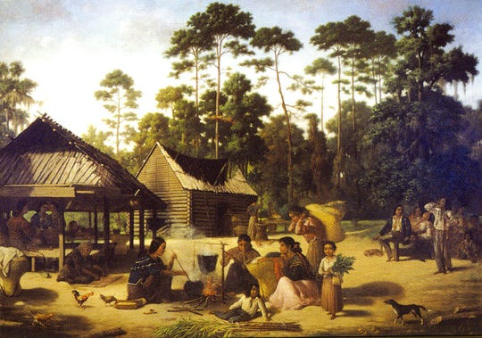Choctaw Village near the Chefuncte, by Francois Bernard, 1869, Peabody Museum. Harvard University. Bartram stayed with the Choctaw who shared a Mississippian culture with the Cherokee. The women are preparing dye to color cane strips for making baskets.
