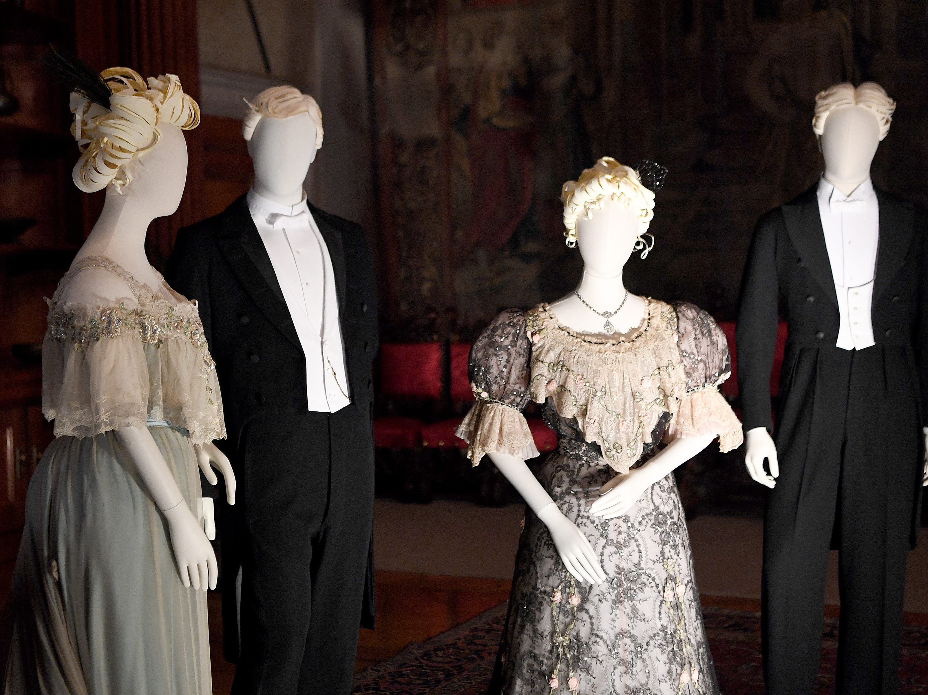 """The Biltmore Estate's new exhibit is """"A Vanderbilt House Party, the Gilded Age,"""" featuring clothing created by John Bright and Cosprop, London from historic photographs of members of the Vanderbilt family and their guests."""