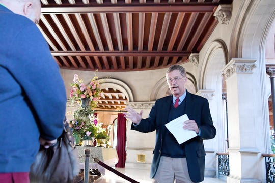"""William A.V. Cecil, Jr., descendant of George Vanderbilt and Biltmore CEO, welcomes guests to a preview of """"A Vanderbilt House Party, the Gilded Age,"""" on Feb. 7, 2019."""