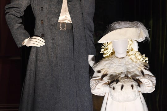 """Outfits created from photographs of Pauline Dresser Merrill, Edith Vanderbilt's sister, and Cornelia Vanderbilt, showing what they would wear around the grounds of the estate are on display for """"A Vanderbilt House Party, the Gilded Age,"""" on Feb. 7, 2019. The exhibit will be on display until May 27."""